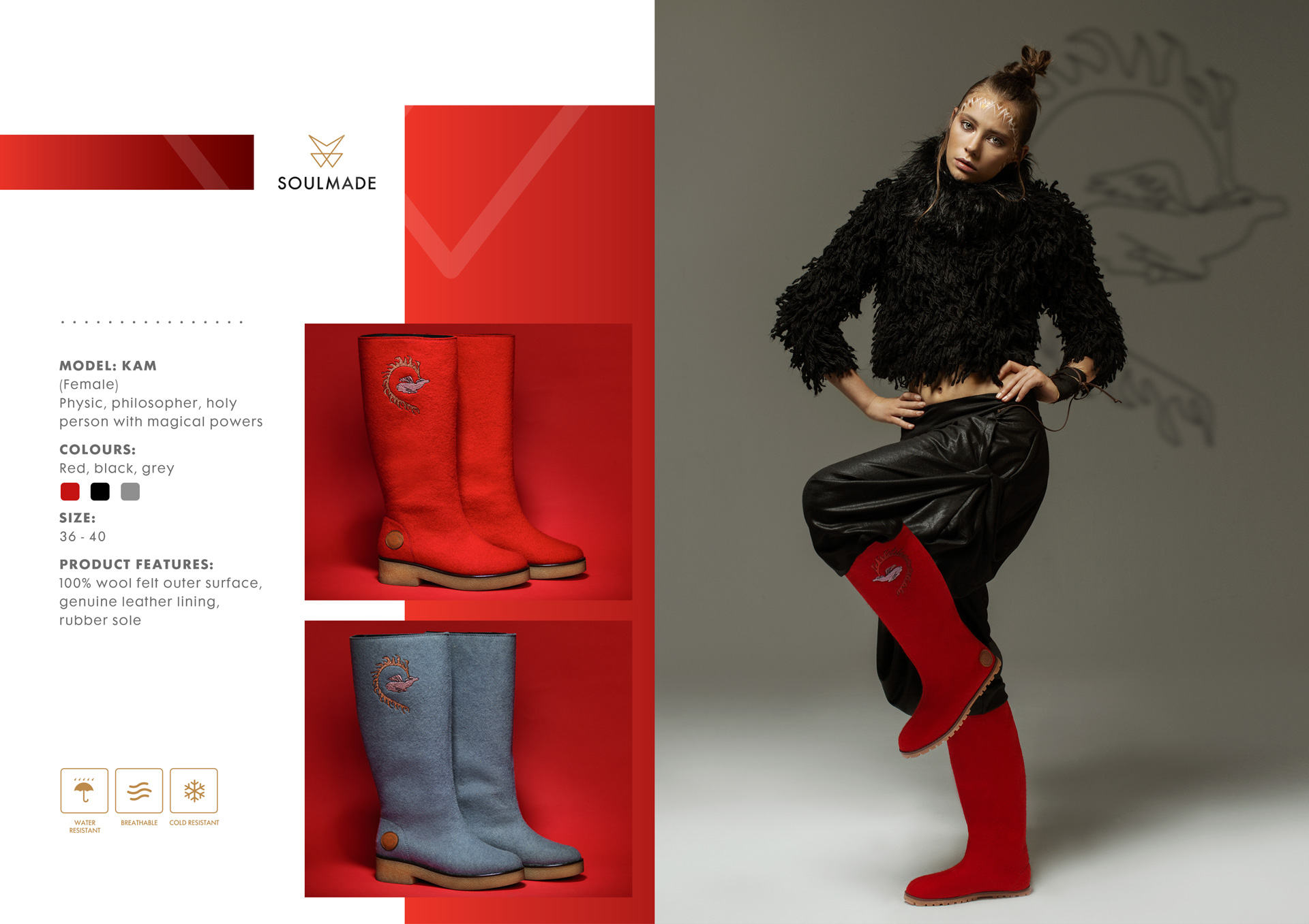 Soul Made Online Shop - KAM - Woman Grey Wool Felt Top Boot - KAM Product Details - 2